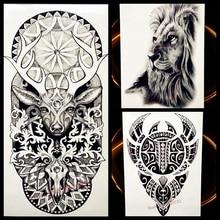 Black Henna Waterproof Temporary Tattoo Deer Moose Bucks Tattoo Elk Water Transfer Fake Flash Tattoo Men Women Body Art Totem