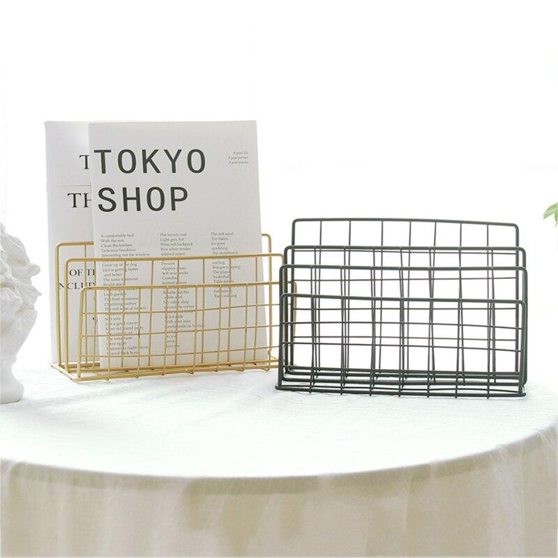 Nordic Desktop Wrought Iron Bookshelf Magazine Rack Metal Shelf For Book Holder Home Decor Organizer Bookend Display Stand