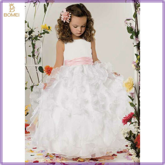 Beautiful White Ball Gown Satin And Ruffles Organza Floor length ...