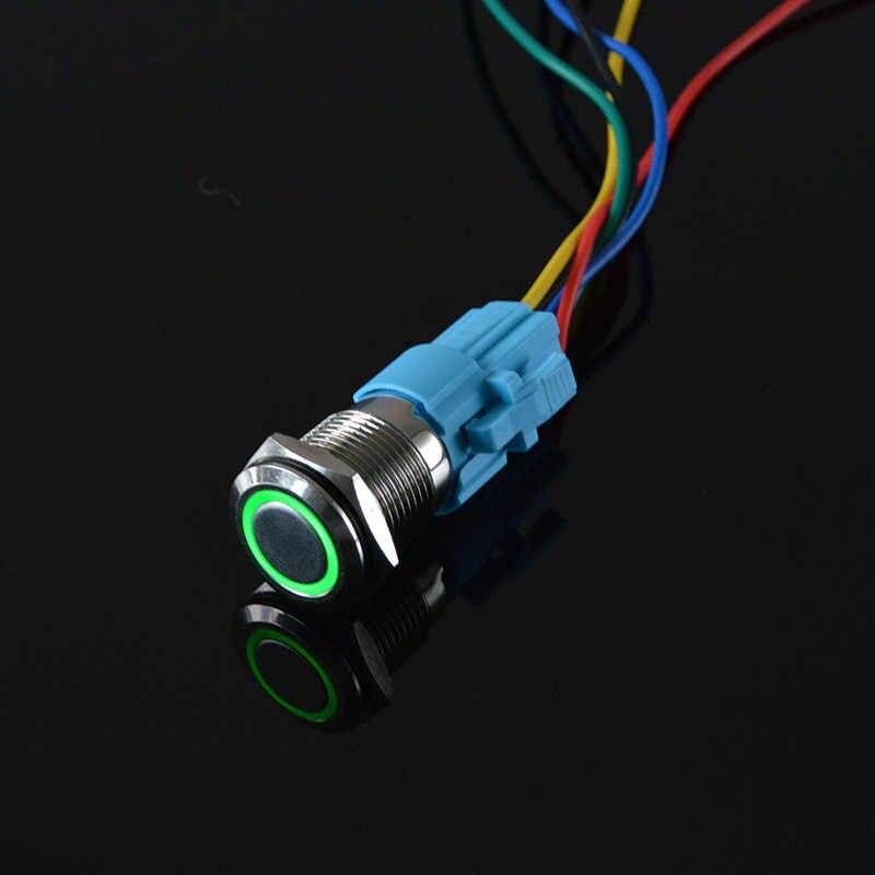 16 мм водонепроницаемый металлический кнопочный переключатель кольцо и светодиодный светильник 9-24 в 12 В 110 В 220 в выключатель без фиксации 1NO 1NC широкое напряжение