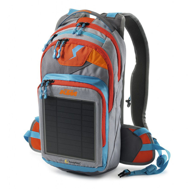 new 2016 ktm hydration bag with solar panel for charging mobile