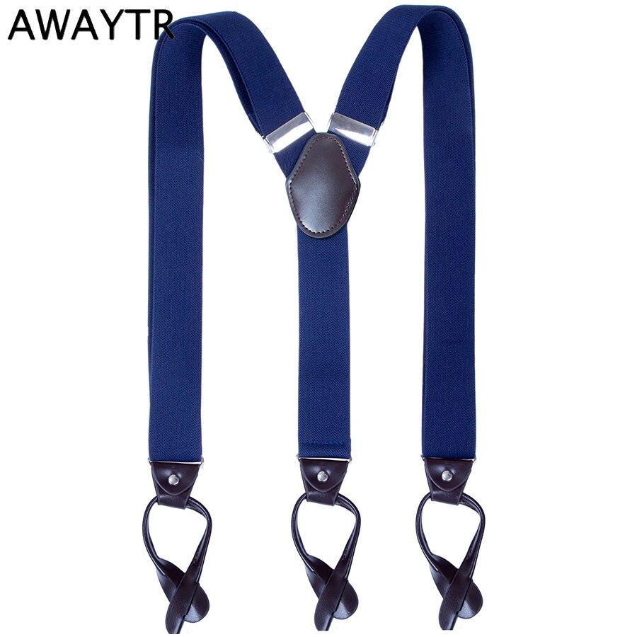 AWAYTR Fashion Suspenders Men 6 Buttons Leather Braces New Y-Back Ligas Tirantes Strap Braces 3.5*110cm Trousers Accessories