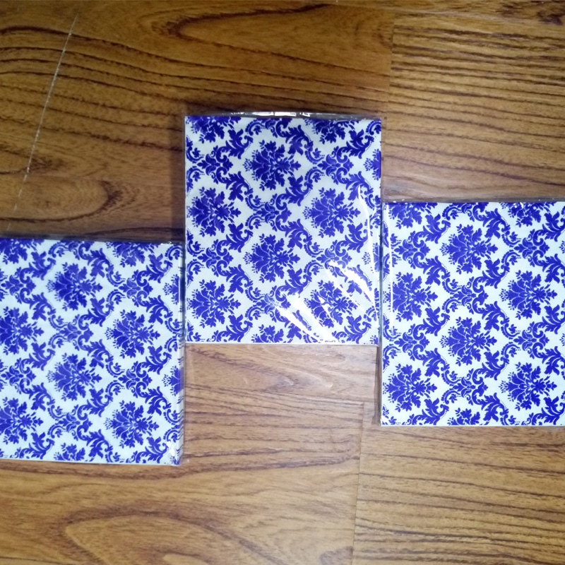 HAKOONA 3 Bags 60 Pieces 3 Layer Paper Fabric Napkin Blue And White Porcelain Pattern Facial Tissue Bar Dessert Party Mats in Table Napkins from Home Garden