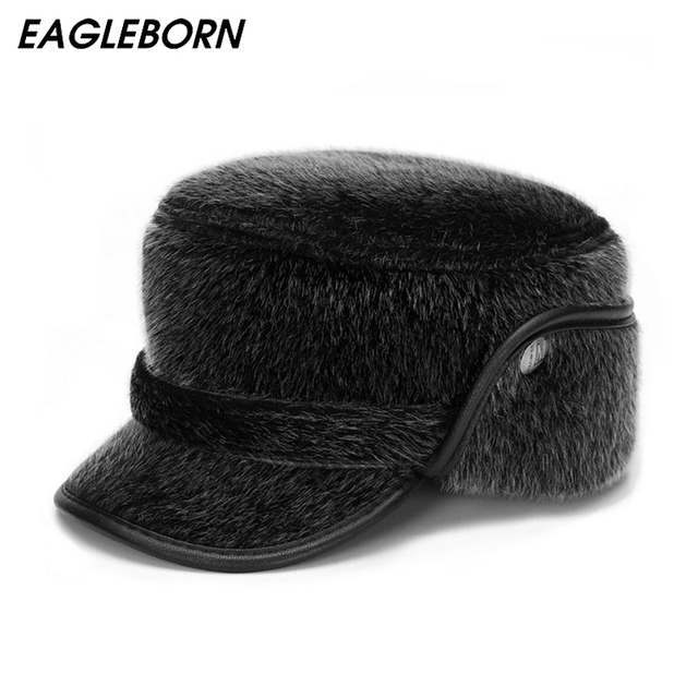 c1dd81e566d 2019 Thicken Men Flat Cap Men s Fur Military Hat with Earflaps Man High  Quality Winter Warm