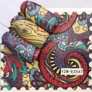 Image 5 - WUF naklejki na paznokcie naklejki na wodę motyl kwiatowe czarne z motywem zwierzęcej białej geometrii suwak Manicure zdobienie paznokci dekoracje