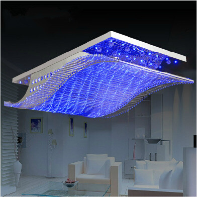Modern Crystal Chandelier Led Color Change With Remote Control Organ Style Rgb Re Ceiling Lamp Deco