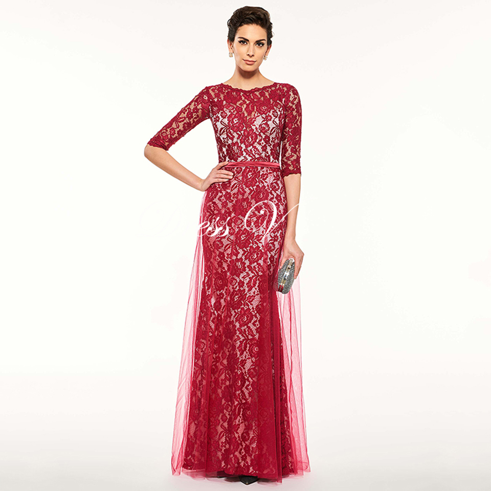 df719030b8e2 Dressv Red Long Mother Of The Bride Dress Sheath Half Sleeves Scoop Neck  Button Tulle Lace Custom Mother Of The Bride Dress