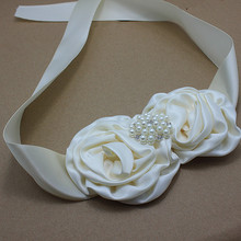 Princess ivory satin rosette Flower Sash with rhinestone wedding party Bridal Flower Belt Dress gown sash