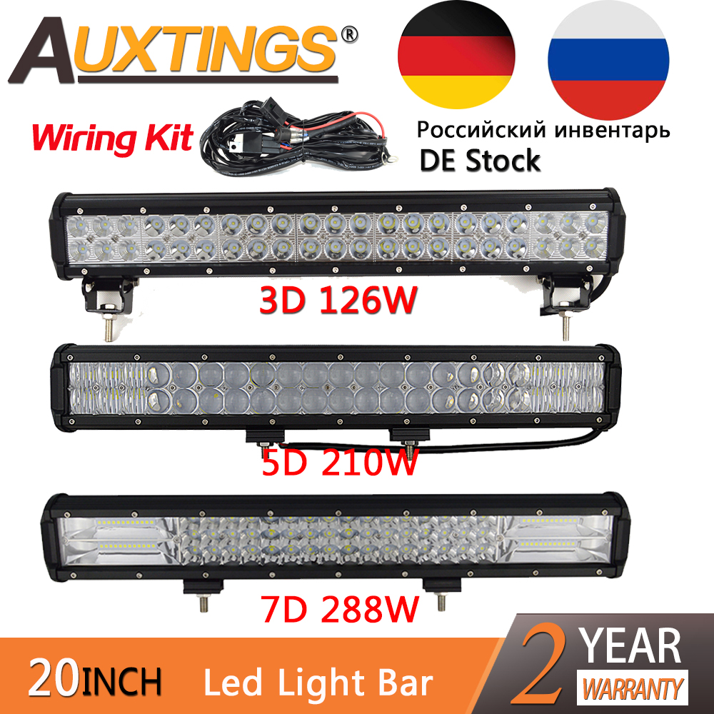 Auxtings 20 inch 20'' 126W 5D 210W Tri rows 7D 288W LED light bar IP67 waterproof high power offroad 4x4 car led work light image