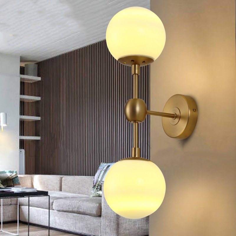 2 / 3 Heads Modern Gold Body Milky Glass Dining Room Wall Lamp  Magic beans Cafe Balcony Lights DNA Glass Light Free Shipping free shipping modern dining table designs discount lamp shades