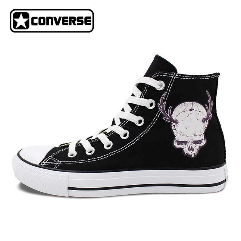 Converse All Star Black Shoes for Men Women Design Skull Horn Animal High Top Canvas Sneakers Flats Lace Up for Gifts men women s converse all star shoes high top lace up flats design five food recipes on white canvas sneakers gifts
