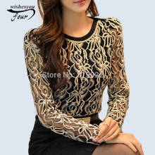 2017 Fashion Plus Size Long Sleeve Crochet Black And White Body Lace Chiffon Blouse Women Elegant Vintage Female Shirt 339B 25