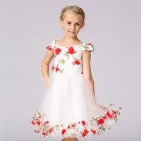 Nieuwe zomer kinderkleding woord schouder afdrukken pop prinses jurk bloemen kinderen 's trouwjurk