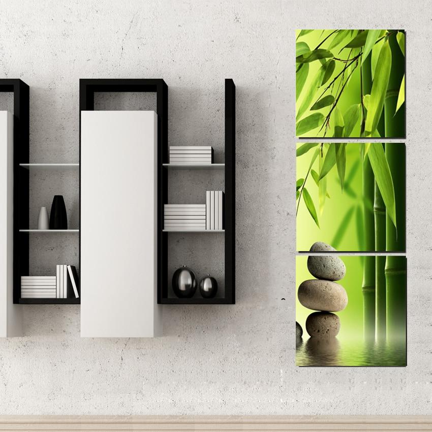 €5.22 45% de réduction|Bambou peinture sur mur Feng Shui toile peinture  imprimé vert paysage Art photos pour moderne chambre décorations pas de ...