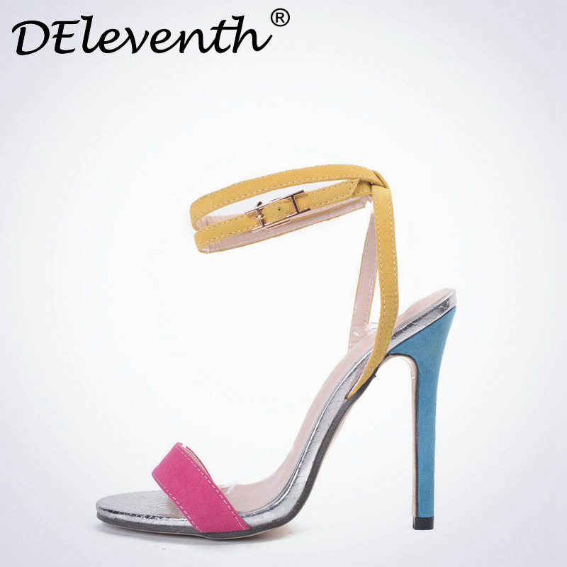 DEleventh Sexy womens summer shoes Flock Buckle Strap Shoes Sandals Open toe thin high heels Shoes zapatos de mujer yellow cdts 35 45 46 summer zapatos mujer peep toe sandals 15cm thin high heels flowers crystal platform sexy woman shoes wedding pumps