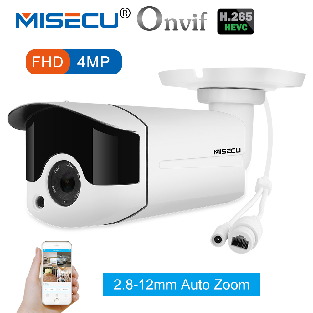 MISECU H.265/H.264 4.0MP Motorized Zoom 48V POE WDR IP Cam 2.0MP Array Night IR Motion Detect RTSP Waterproof Surveillance CCTV выставка munk 2019 07 02t12 30