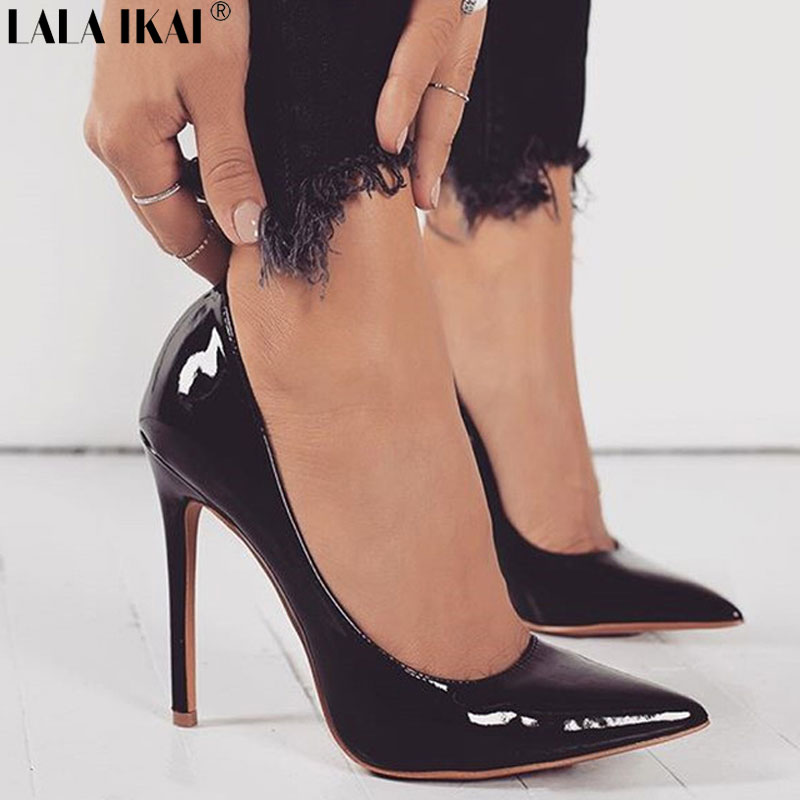 LALA IKAI Women Pumps Spring Autumn Pointed Toe Shallow Slip-on Dress Pumps Shoes Thin Heels Ladies Shoes Female XWC2086-5 spring autumn women pumps mules shoes patent leather casual fashion slip on pointed toe big size lazy shoes shallow thin heels