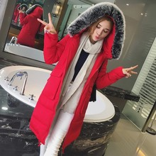 2016 Autumn And Winter Coat Girls Long Big Fur Collar Cotton Padded Jacket Winter Jacket Women