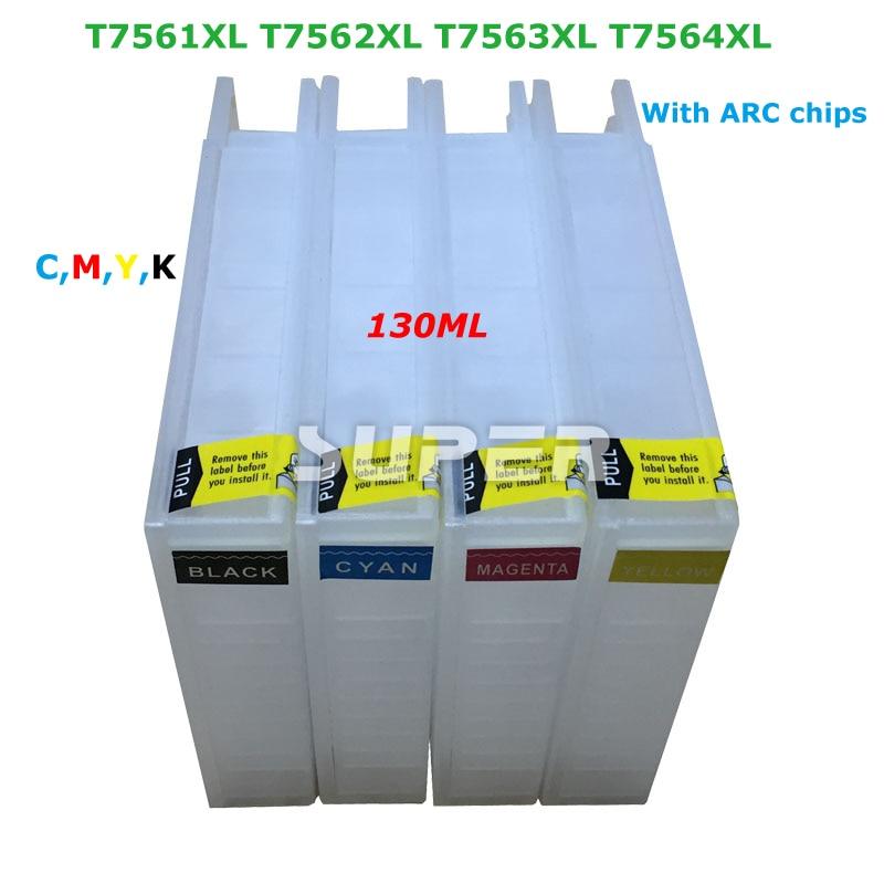 ФОТО For Epson T7561XL T7562XL T7563XL  T7564XL  refill cartridges with auto reset chips Pro WF-8010DW  WF-8090DW WF-8510DWF