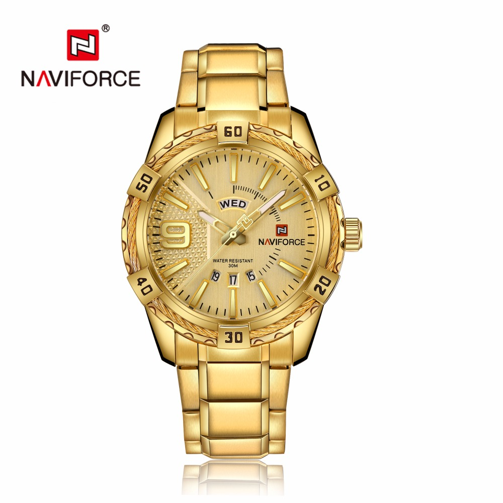 NAVIFORCE Luxury Brand Mens Sport Watch Gold Full Steel Quartz Watches Men Date Waterproof Military Clock Man relogio masculino 5