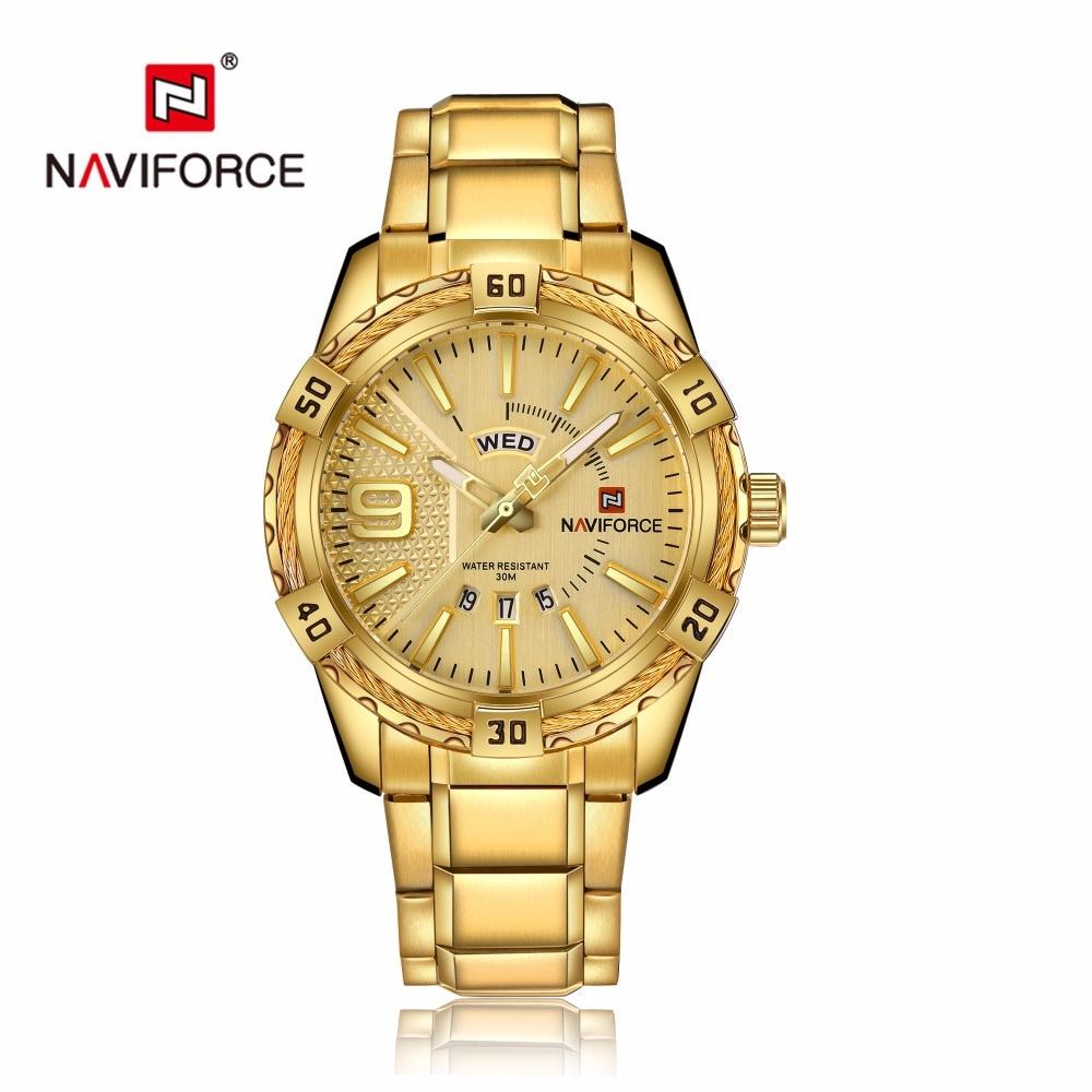 NAVIFORCE Luxury Brand Mens Sport Watch Gold Full Steel Quartz Watches Men Date Waterproof Military Clock Man relogio masculino 5