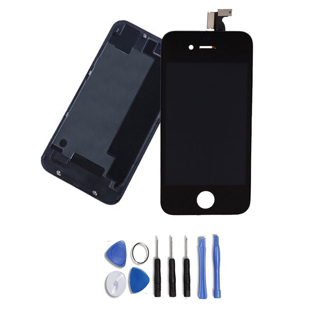 High Quality Replacement For iPhone 4G Touch Screen Digitizer LCD Display + Glass Back Housing Cover + Free Tools, Free Shipping