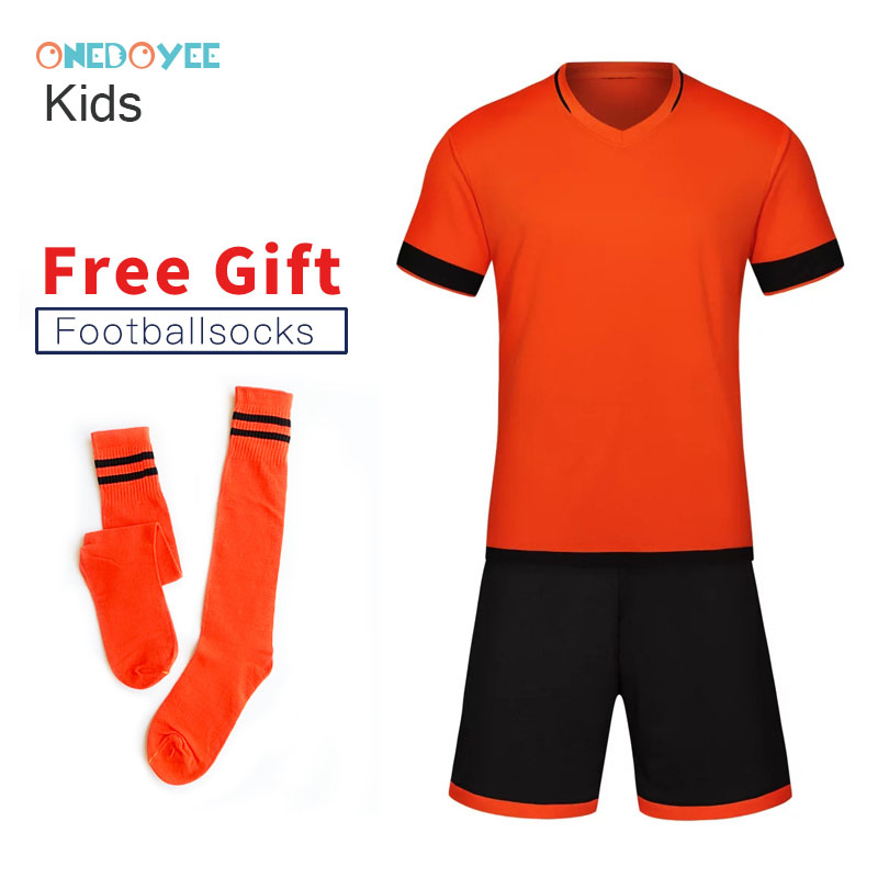 ONEDOYEE Boys Football Jerseys Soccer Uniform Kids Football Kit Training Suits Jersey Customize Breathable Children Soccer Sets цена