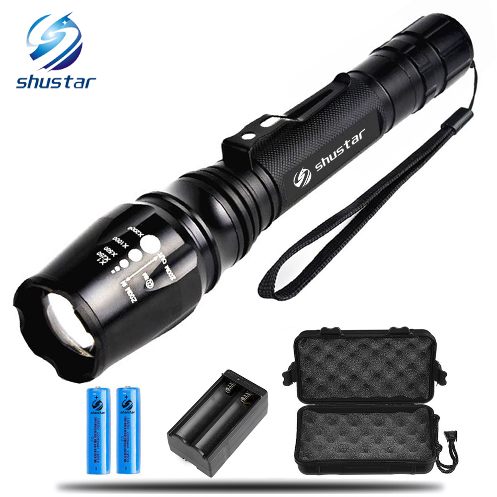 LED Ultra Bright torch CREE XML-T6 XM-L2 LED Flashlight 5 lighting Modes 8000 lumens Zoom LED torch + charger use 18650 battery crazyfire led flashlight 18000 lumens 15xcree xml t6 lantern torch with 2x rechargeable 4200mah 18650 battery battery charger