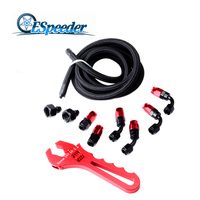 ESPEEDER AN6 Fuel Hose Line 3M Swivel Fuel Fittings 0+45+90Dregree Hose End Female To Male Reducer Hose Adapter Aluminum Wrench