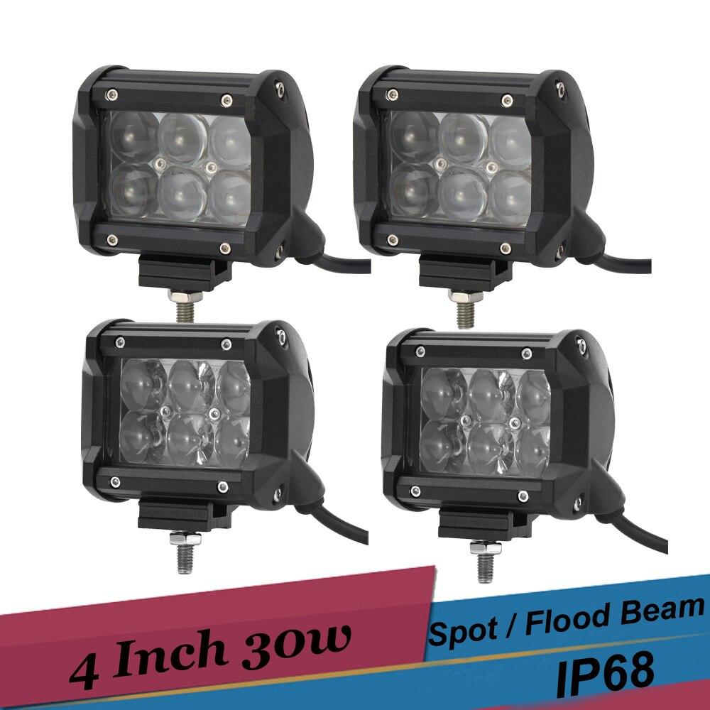 4 Inch 30W LED Work Light Bar Spot Flood Offroad Driving Lamp 4x4 ATV UTV Golf Car Truck Pickup Reverse Light for Audi Q5 Q7
