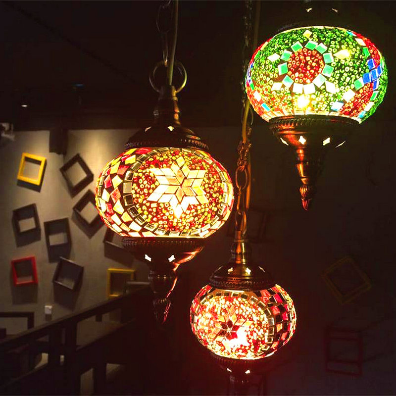 Stained Glass Pendant Lamp Handmade Stained Glass Moroccan Lamp Glass Ball Pendant Lighting Kitchen Bar Turkish Mosaic Lamps