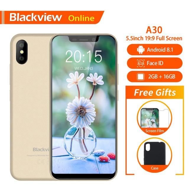 "Blackview Original A30 2GB+16GB 5.5"" Smartphone 19:9 Full Screen MTK6580A Quad-Core Android 8.1 Dual SIM Face ID Mobile Phone"