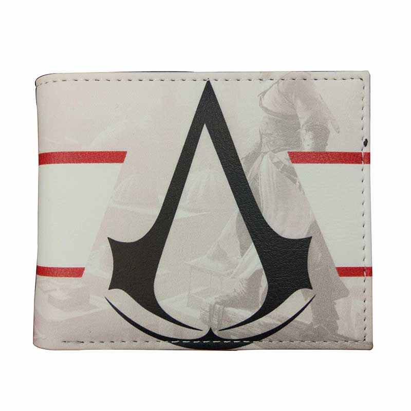 New Arrival Assassin Creed Leather Wallets Men Women Unisex Casual Card Holder Purse with Zipper Coin Pocket Dollar Price Wallet new anime style spiderman men wallet pu leather card holder purse dollar price boys girls short wallets with zipper coin pocket