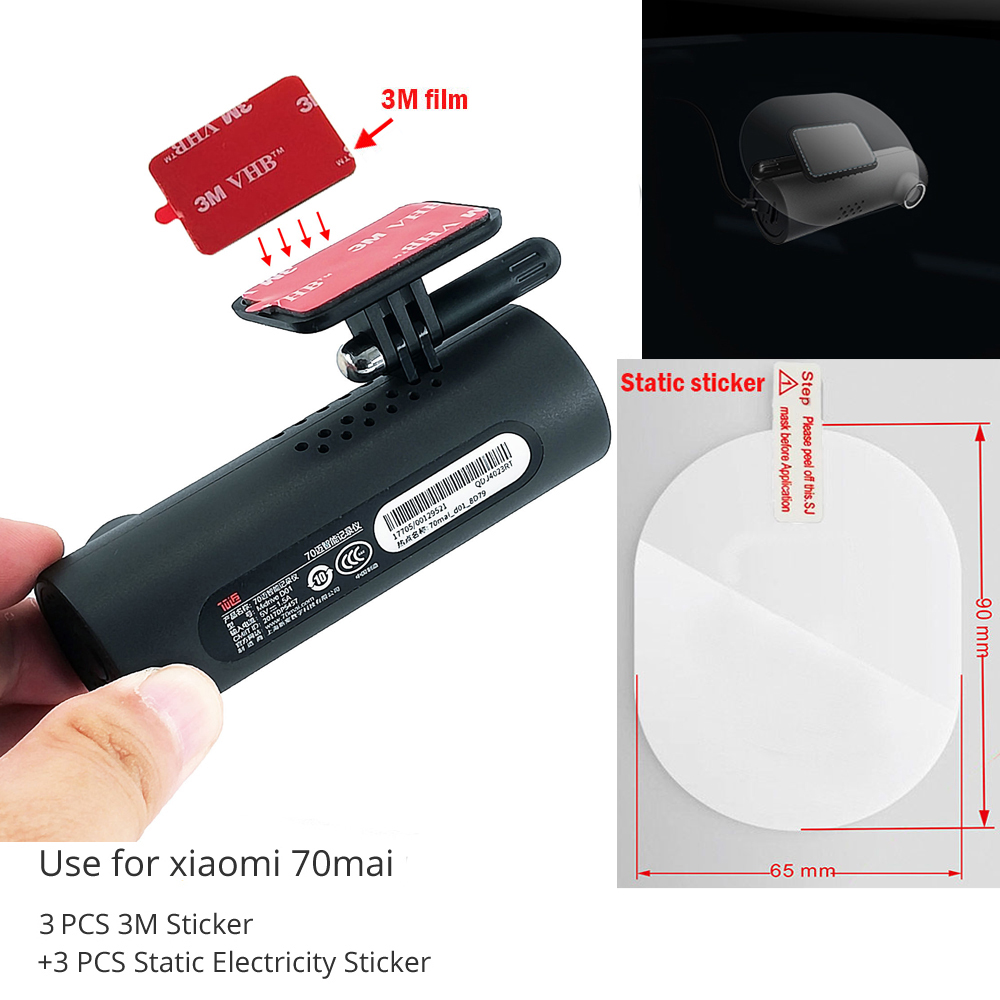 Tools Pack For 70mai  3M Holder Electrostatic Sticker For Dash Cam Heat Resistant Adhesive ,Suitable For 70mai Pro Car DVR 3pcs
