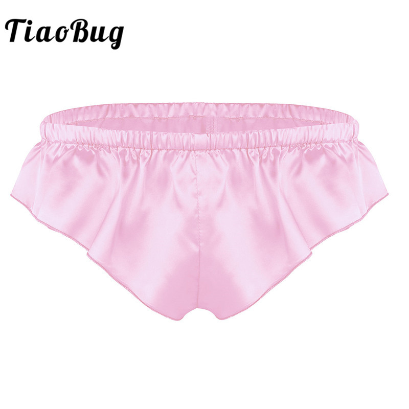 81efe6f8d TiaoBug Men Sissy Lingerie Shiny Soft Satin High Cut Solid Color Bikini  Thong Briefs Sexy Gay