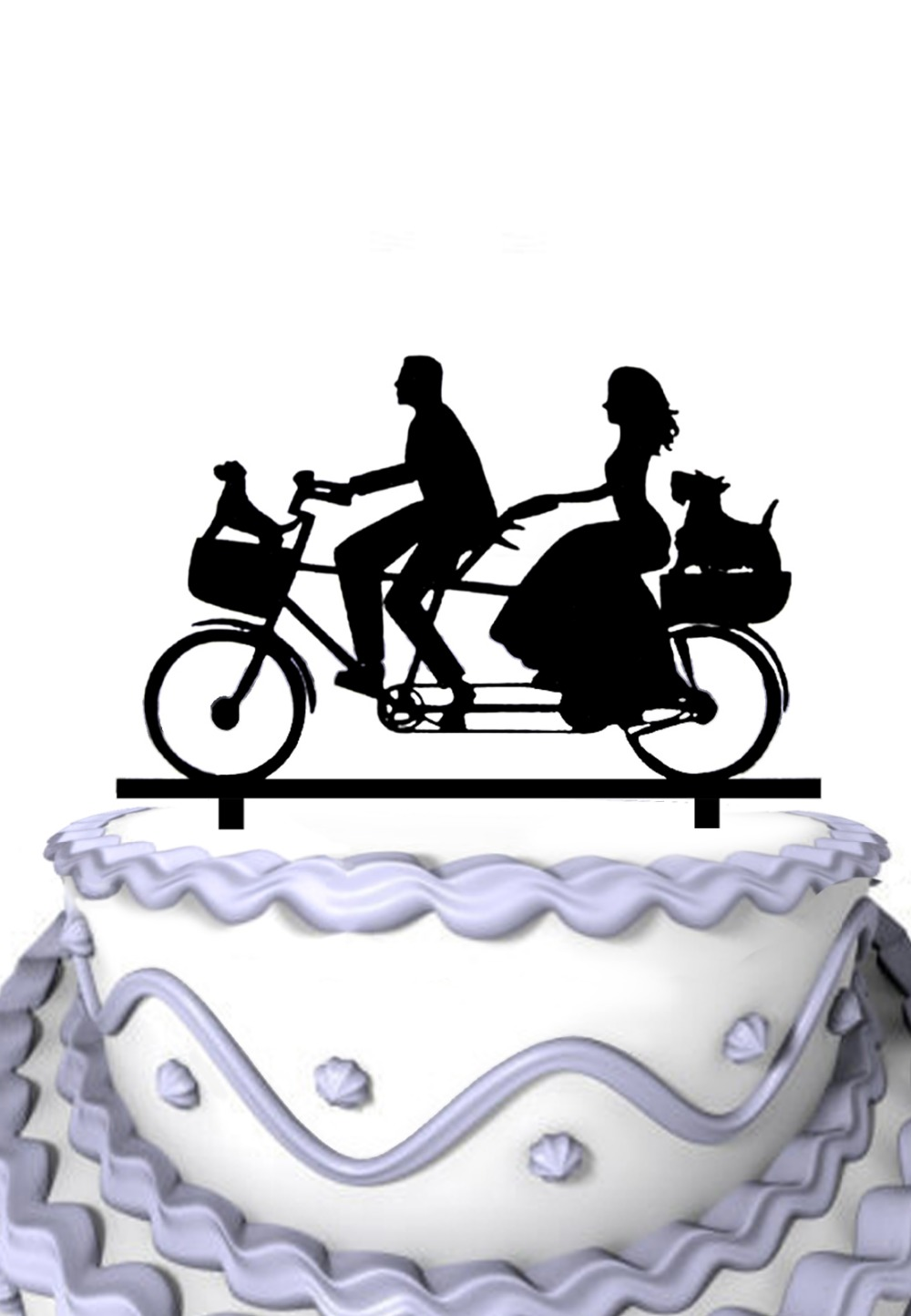 Acrylic Wedding Cake Topper Riding Bicycle Couple With Two Pet Dog ...
