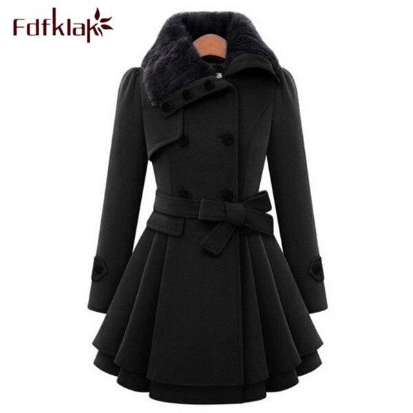 XXL XXXL 4XL grande taille coréen mode Manteau femmes hiver laine manteaux à manches longues dames laine manteaux noir/marine Manteau FemmeQ333