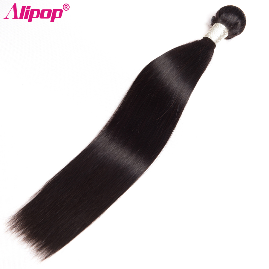 "Berkilat Rambut Lurus Brazil Lurus Manusia Remy Bundle 10 ""-28"" ALIPOP Double Weft Hair Extension Natural Black 1 bundle"