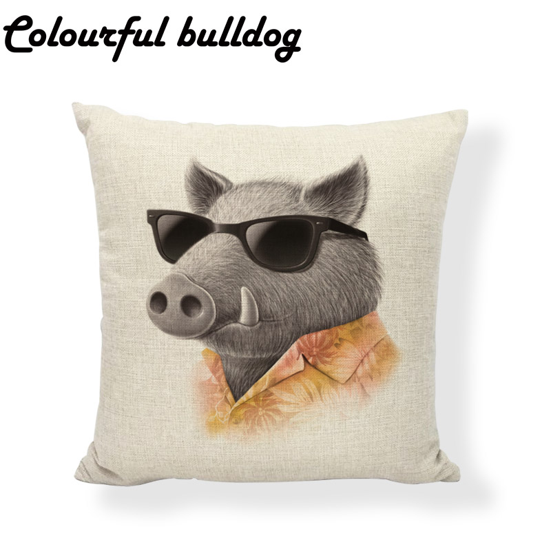 Lovely Animal Cushion Cover Sheep Rabbit Hat 17 Inch Bird Glasses Bow Tie Home Couch Yard Car Seat Decoration Throw Pillowcase