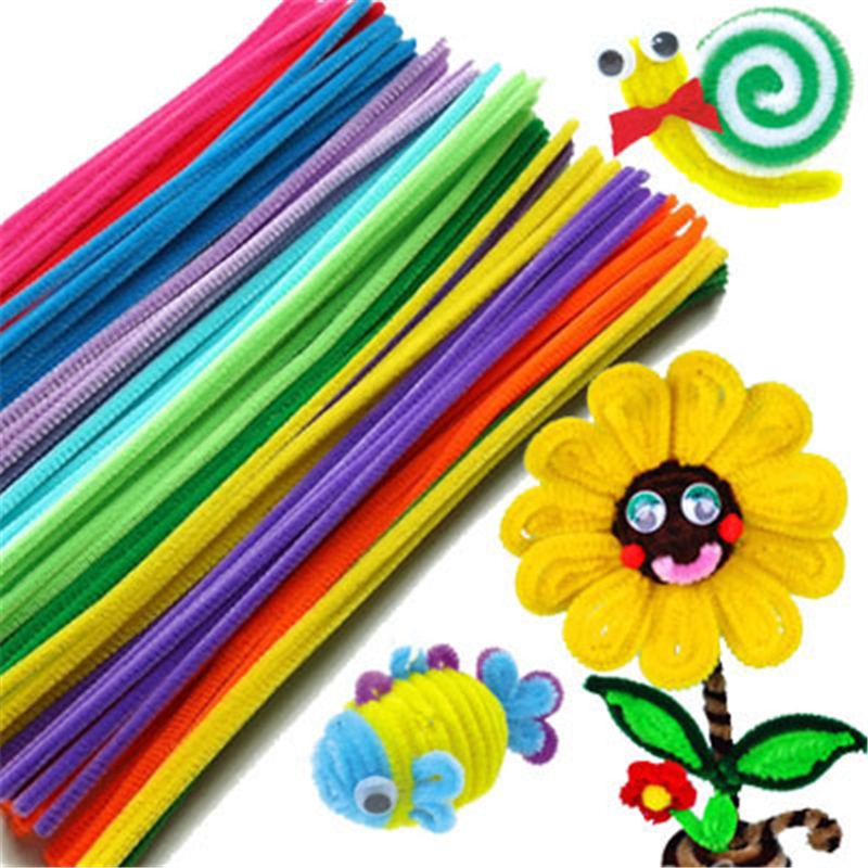 100pcs Chenille Pipe Cleaners Children Kids Plush Educational Toy Crafts Colorful Pipe Cleaner Toys Handmade DIY Craft
