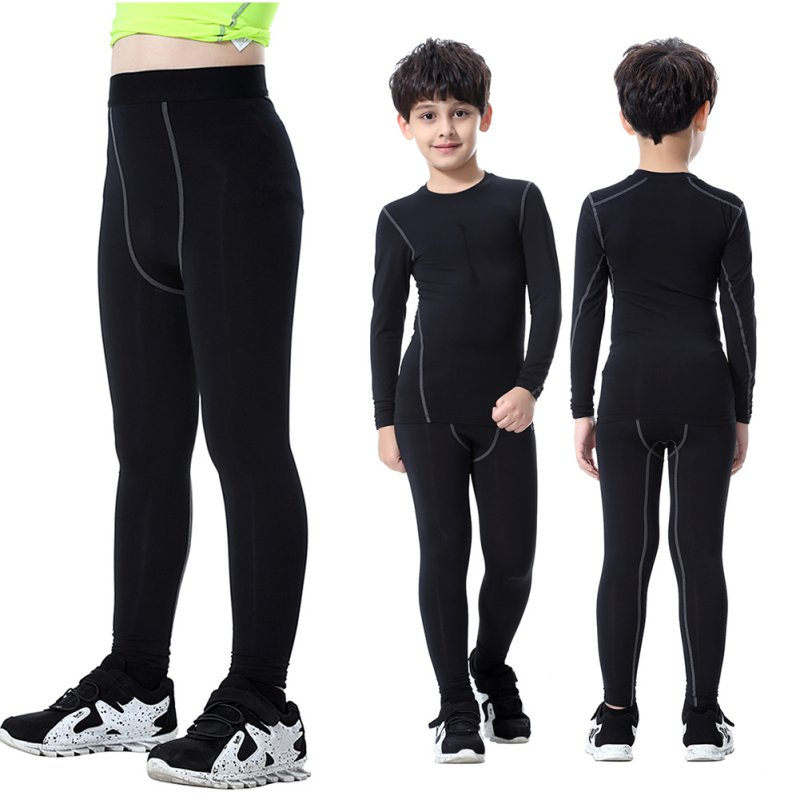 2018 New Kids Boys Compression Pants Quick Dry Elastic Waist Skinny Sports Shorts Polyester Running Sports Cycling Pants