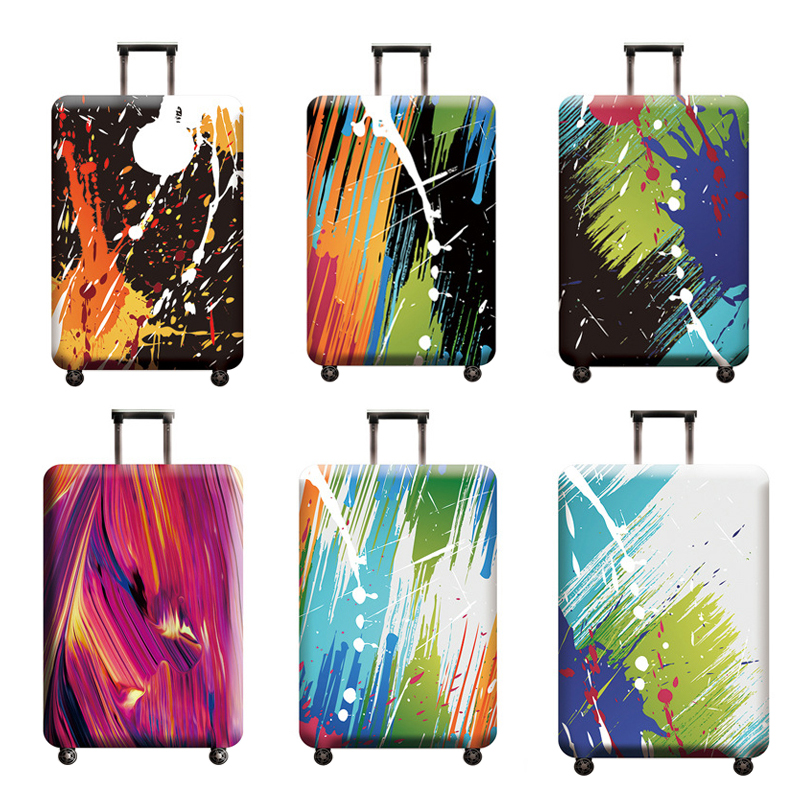 Abstract Luggage Cover Travel Suitcase Protector Suit For 18-32 Size Trolley Case Dust Travel Accessories Elasticity Box Sets