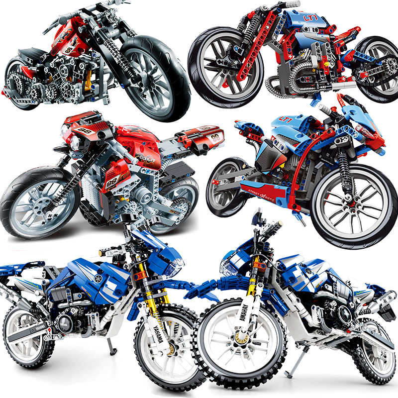 Motorcycle Technic Compatible Sermoido Moto Racing Motorbike City Vehicle Sets Off Road Model Building Blocks Moc Kits Kids Toys