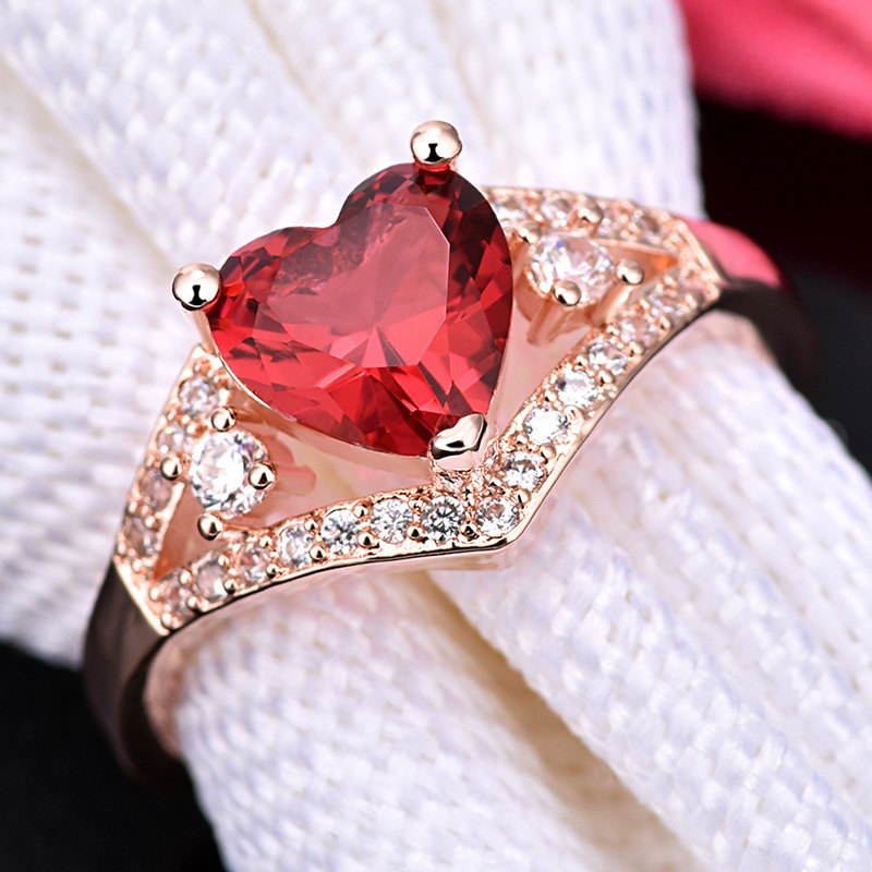 Love Heart-Shaped rRose Red Crystal Zircon ring For Women Gift Drop Shipping Jewelry 3