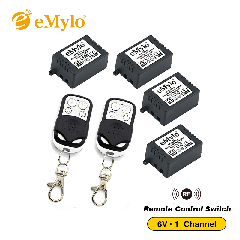 eMylo RF 5V 6V Smart Switch Wireless Remote Control Light Switch 433Mhz 2X Black&White Color Transmitter 4X 1-Channel Relays 433 new design y a4e 1000wx4 4 channel rf remote control wireless switch white 200 240v