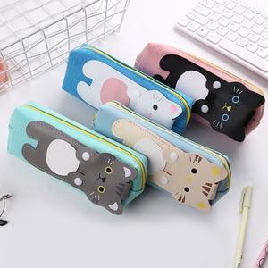 Image 2 - 3 шт./лот, Корейская милая сумка карандаш, креативный мультяшный Кот, холст, пенал для студентов, канцелярские принадлежности, пенал для школы, офиса