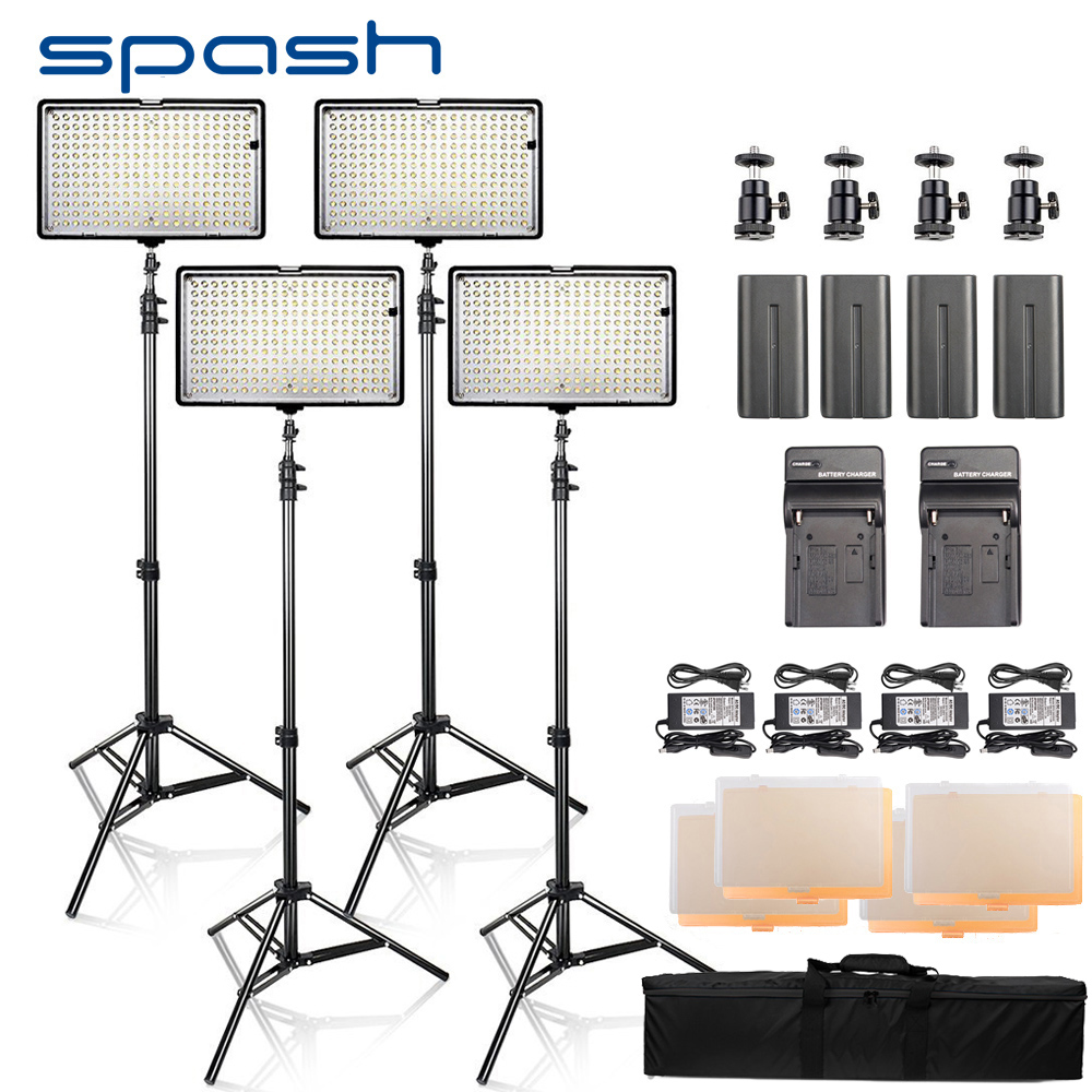 spash LED Video Light 4 Sets Photography Lighting led Panel Lamp with Tripod CRI 93 3200K/5600K 240 LEDs Photo Studio Lamp spash tl 240s 1 set led video light with tripod stand cri 93 3200k 5600k studio photo lamp led light panel photographic lighting