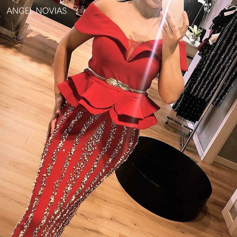 Custom Made Long Red Arabic Evening Dresses Dubai Bling Beading Fabric Prom Dress Party Dress
