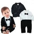 Hot 2 pcs Bebê Meninos Recém-nascidos Roupas Crianças Terno Casaco + Cavalheiro Romper Playsuit Jumpsuit Outfit Vestuário Set ropa de Roupas de Bebe