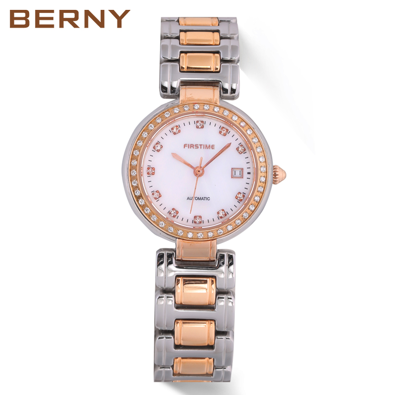 Automatic Watch Women Luxury Diamond Stainless Steel Band Invicta Waterproof Watches Mulheres Luxo Relogio Automatico